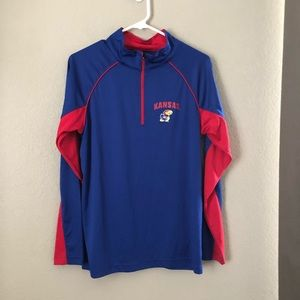 Kansas Jayhawk Blue Red Pullover Sweater Small